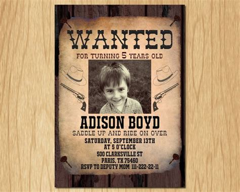 Cowboy Birthday Invitation Wanted Poster Old Wild West Birthday Party Invite With Custom Photo West Invitation Template