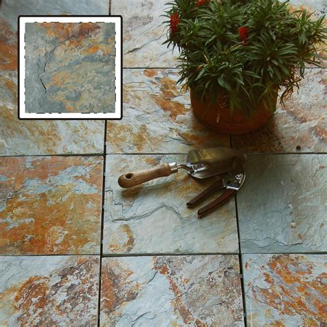 vifah 174 rustic blend slate interlocking deck tiles 218695