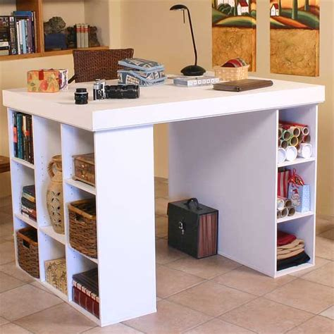 Versatile Work Center With Huge Work Surface Diy Craft Desk With Storage