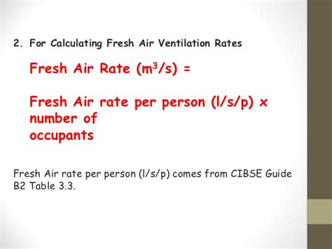 formula for air conditioning a room ventilation rate
