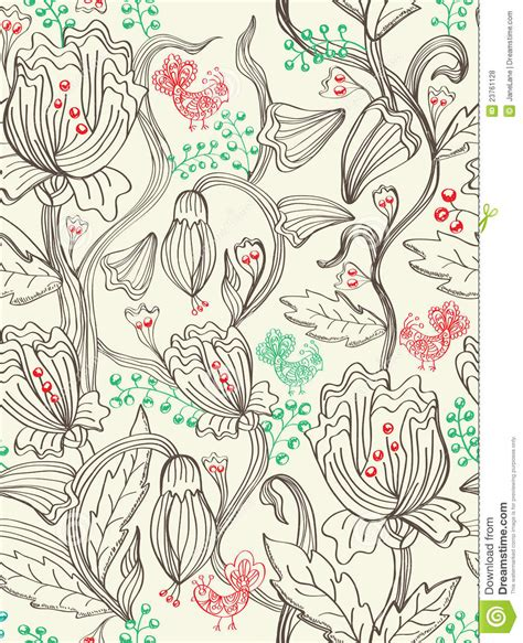 seamless beautiful pattern with flowers and birds royalty