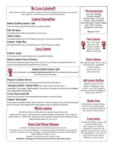 lobster house menu dinner menu warren s lobster house