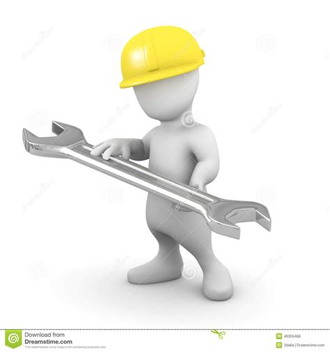 stock illustration of 3d man with safety equipment on 3d little man with spanner stock illustration