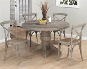 Solid Oak Dining Room Set by Jofran Burnt Grey 5 Piece Round Pedestal Dining Room Set