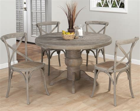 gray dining table set jofran burnt grey 5 pedestal dining room set