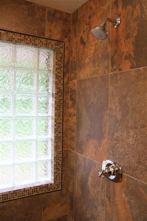 glass block tiles bathroom porcelain tile with slate look glass block window in