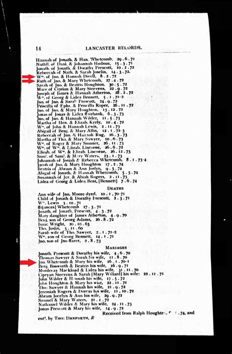 Lancaster Marriage Records Lancaster Birth Records For Wm Divoll Ruth Whitcomb And Marriage Records For