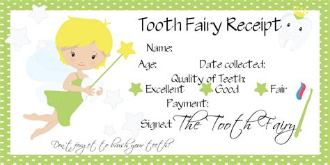 tooth receipt template tooth printables