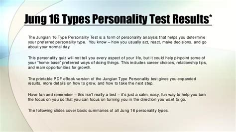 jungian 16 personality types test results quiz by
