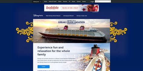 Disney Trip A Day Sweepstakes - disney secrets to a dream cruise vacation sweepstakes