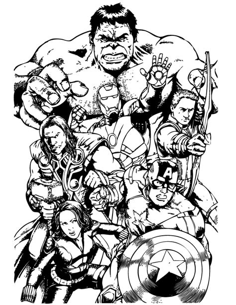 free coloring pages of avengers drawing pages