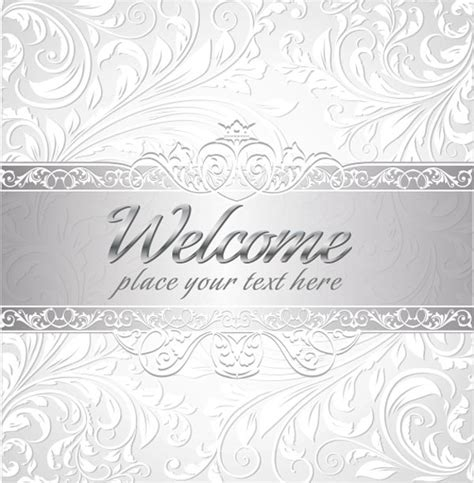 silver layout vector silver wedding invitations with floral curly shapes