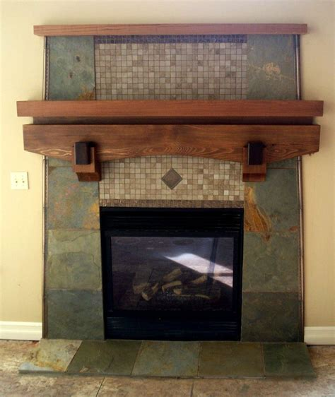 custom slate fireplace with cedar mantel fireplaces