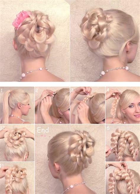 cute easy hairstyles simple braided flower updo 15 braided updo hairstyles tutorials pretty designs