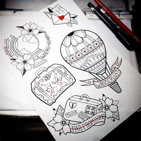 suitcase tattoo designs digging the suitcase and globe random ideas