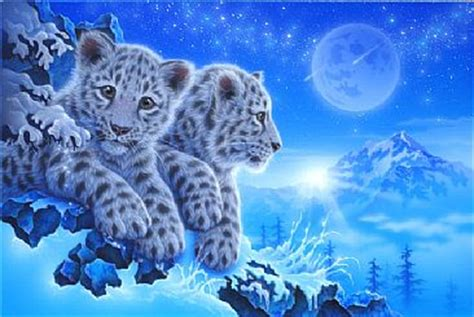 Blue And White Painting snow leopard painting art by kentaro nishino