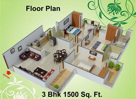 home design plans for 1500 sq ft 3d 1500 sq ft 3 bhk 3t apartment for sale in charms india