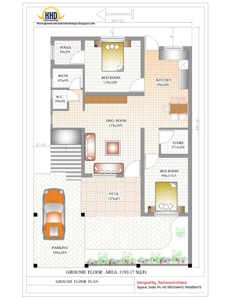 Floor Plans India | contemporary india house plan 2185 sq ft home appliance