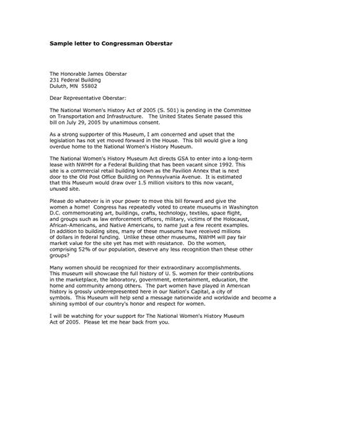 letter to a congressman template formal letter format to congressman exles and forms