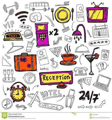 doodle sketch vector free hotel service icons doodle sketch stock vector image