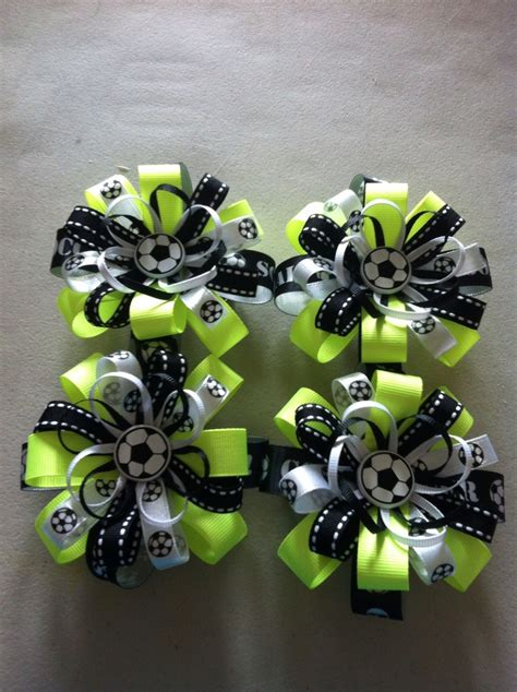 Jepit Rambut Hairbow Hjr043 soccer bows for the team hairbows for the soccer and the team