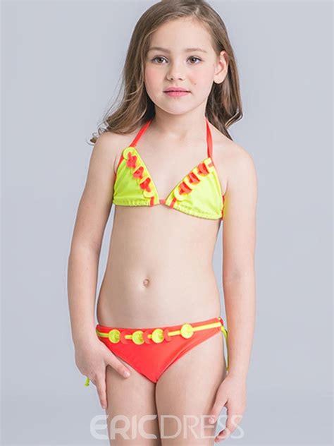 ericdress halter color block tie side girls bikini set
