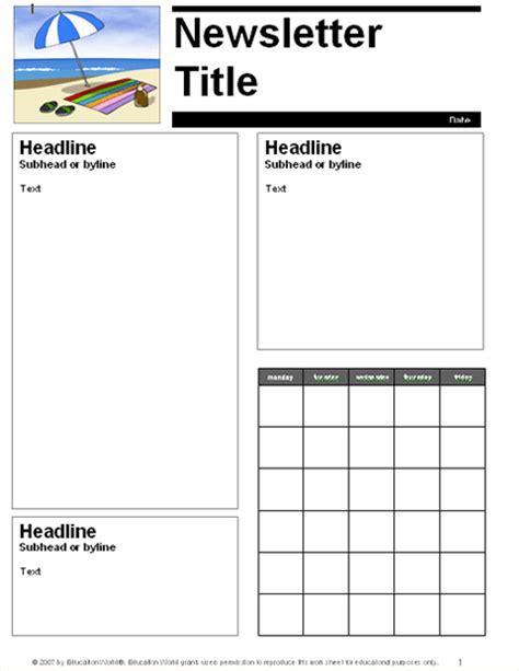 free school newsletter templates for teachers
