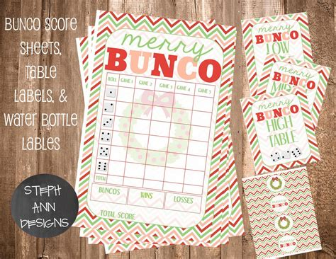 printable christmas bunco cards printable christmas bunco score sheet bunco water bottle