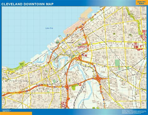 cleveland map world wall maps store cleveland downtown map more than 10 000 maps our cleveland