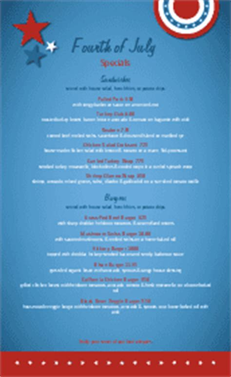 4th Of July Menu Template by July 4th Table Tent 4th Of July Menus
