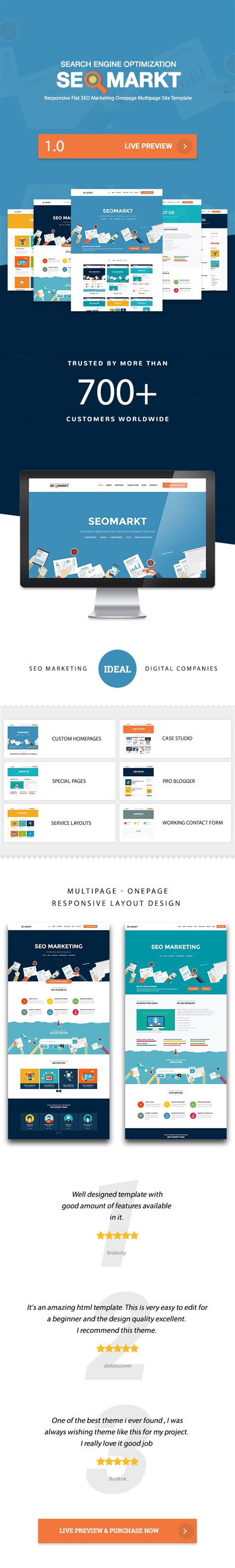 Seomarkt Responsive Flat Seo Marketing Onepage Multipage Site Template By Wordpressshowcase Search Engine Website Template