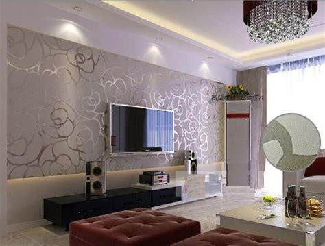 silver grey wallpaper living room high grade rose flower pattern non woven flocking