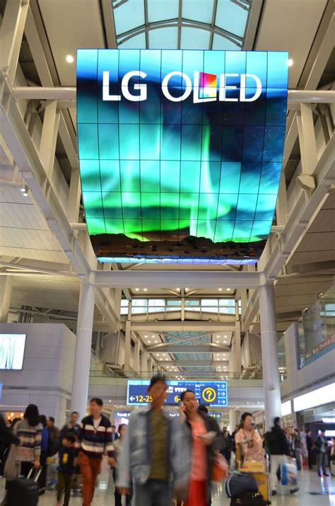 lg installs worlds largest oled display  south korean airport electronics