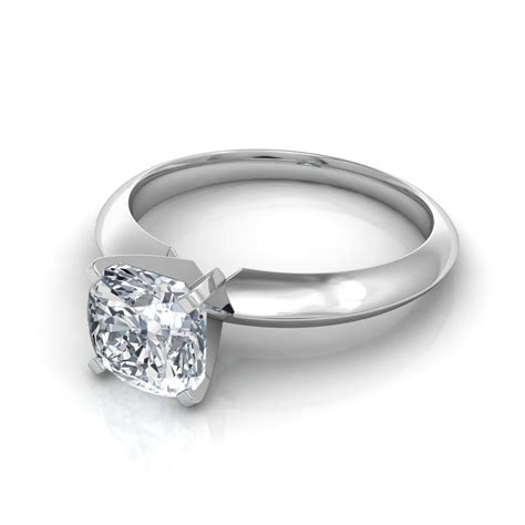 knife edge cushion cut solitaire engagement ring