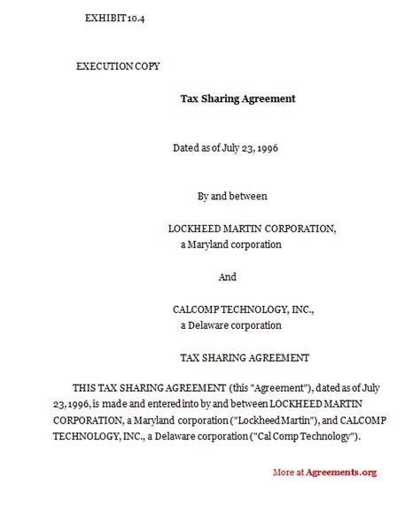 tax sharing agreement sle tax sharing