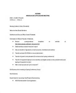 meeting itinerary template 8 board meeting agenda templates free sle exle