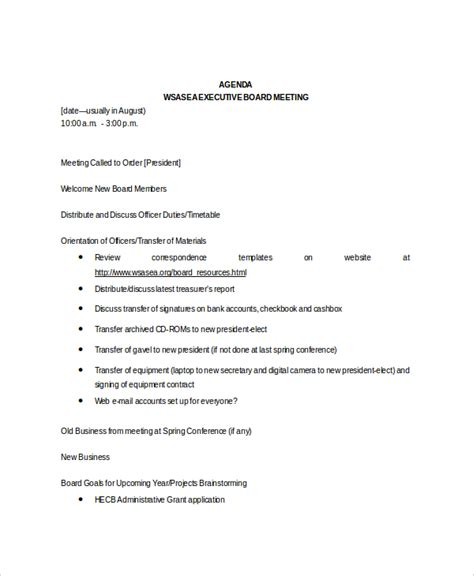 exle of a meeting agenda template 8 board meeting agenda templates free sle exle