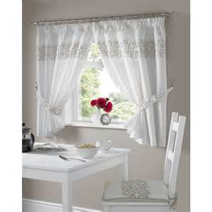 swirl kitchen curtains ready made pairs white beige