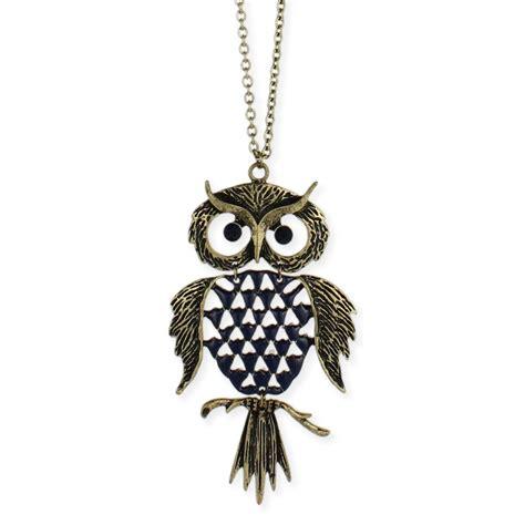 wholesale gold large owl pendant necklace zad