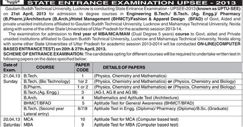 Uptu Mba Result 2013 14 by Upsee 2013 Gb Technical Timetable