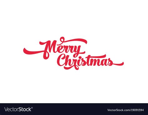 red text   white background merry christmas vector image