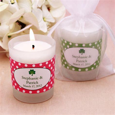 Candle Giveaways - personalized irish frosted glass candle holder irish wedding theme favors wedding