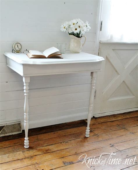 half table against wall repurposed half table into nightstand knick of