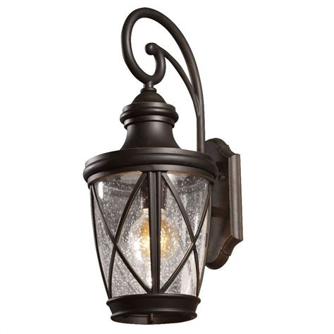 Lowes Patio Lighting Allen Roth Castine 20 38 In H Rubbed Bronze Outdoor Wall Light Lowe S Canada