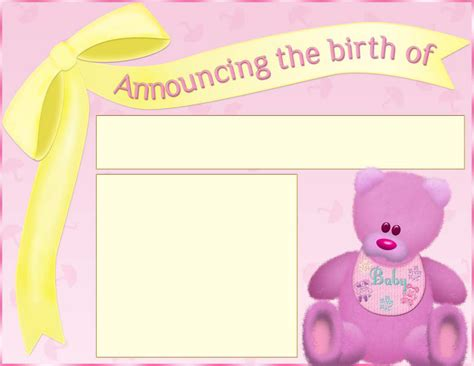 birth announcements templates free birth announcement template 1 for free tidyform