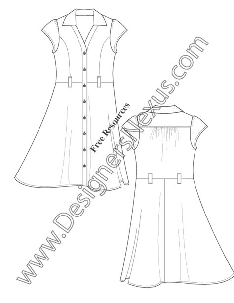 dress design templates v43 button front shirtdress illustrator flats fashion template