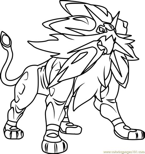 coloring pages pokemon sun and moon solgaleo pokemon sun and moon coloring page free pok 233 mon