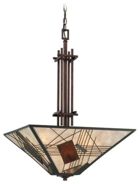 mission style pendant light with mica shade pendant