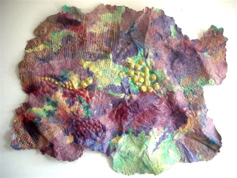 Handmade Paper Artist - handmade paper mixed media collage purple 3d