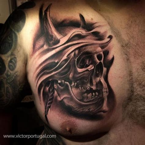tattoo chest skull chest skull tattoo by victor portugal